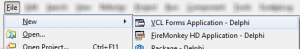 Create a new VCL Forms Project in Delphi